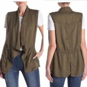 MIND SET Tencel and linen open draped vest
